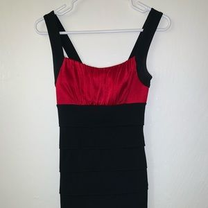 Red and black tight dress